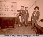 Cub Scouts with hair cutting machine, Williston, N.D.