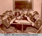 Cub scouts in radio station, Williston, N.D.