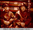 Gene Howard and Clyde Chapman in Williston Fire department, Williston, N.D.