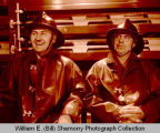 Frank Markham and Albert Zvalney in Williston Fire Department station, N.D.