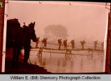 Mars Task Force crosses bamboo bridge, Burma