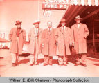 Men in front of Corky's Cafe, Williston, N.D.