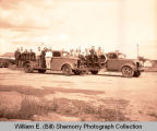Ray Fire Department with fire engines, Ray, N.D.