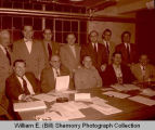 Williston Chamber of Commerce Board and Williston Business and Professional Men in old armory