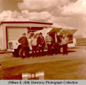 Williston Fire Department men and airport truck, Williston, N.D.