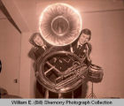Williston High School band students with sousaphone, N.D.