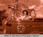 Williston Fire Department with Rita Mae McCrory for fire prevention week, Williston, N.D.