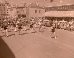 Band Day parade 1955, marching band, Williston, N.D.