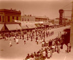 Band Day parade 1946, Watford City High School band, Williston, N.D.