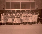 Band Day 1958, hostesses outside Williston High School, N.D.