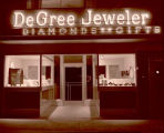 A.B. Degree Jeweler exterior at night, Williston, N.D.