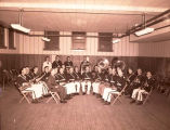 Band Day 1946, Williston Municipal Band in old Central School south wing, N.D.