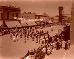 Band Day parade 1946, Grenora High School band, Williston, N.D.
