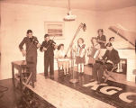 Band in KGCX studio, Williston, N.D.