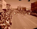 Band Day parade 1959, marching band, Williston, N.D.