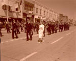 Band Day parade 1961, Carpio High School band, Williston, N.D.