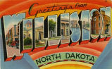Greetings from Williston North Dakota postcard