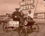 El Rancho Motel, Emil and 1903 Oldsmobile, Williston, N.D.