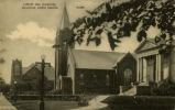 Library and churches, Williston, North Dakota postcard