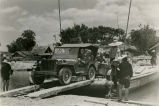 WWII Al Dixon on trailer ferried across river near APO210, China