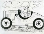 Ole Axehandle driving automobile cartoon