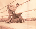 State Line Night Club Jack Dempsey referees wrestling match, Bainville, Mont.