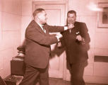 Jack Dempsey and Emil Christianson at KGCX Radio station, Williston, N.D.