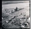 Aerial view of grain elevators and buildings, Alamo, N.D.
