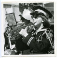 Band Day Parade 1966, girl playing a trumpet in Grenora marching band, Williston, N.D.