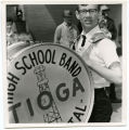 Band Day Parade 1966, Tioga High School band bass drum player, Williston, N.D.