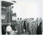 President Harry S. Truman on train in North Dakota