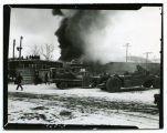 Northern Motors begins to burn, Sidney, Mont.