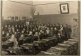 Leo Pasonault in classroom, Cando, N.D.