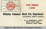 William E. (Bill) Shemorry, Williston Volunteer Rural Fire Department Chief, card
