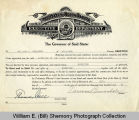 William E. (Bill) Shemorry certificate, Director of Civil Defense of Williams County