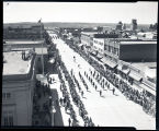 Bands marching down Main Street, Williston, N.D.