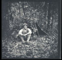 Childs with camouflaged tent