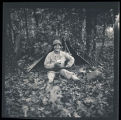Bill Shemorry with camouflaged tent