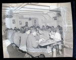 Soldiers eating on board the U.S.S. General Brook