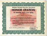Honor Citation for Outstanding Service in Fire Fighting, Williston, N.D.