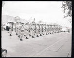 Soldiers in formation at attention in the street, Fort Rucker, Alabama