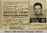 William E. (Bill) Shemorry, army photographer photo identification card