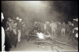 Students around bonfire, Main Street, Zap, N.D.