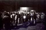 Students around bonfire on Main Street, Zap, N.D.