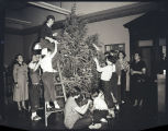 Christmas tree in James Memorial Library, Williston, N.D.