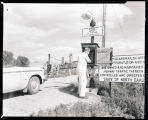 Fairview Railroad Bridge and watchman telephone near Cartwright, N.D.