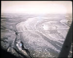 Aerial view over the Missouri River as Ice breaks up near Williston, N.D.