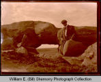 Scenic view of rocks and Emil Hanson in Badlands near Squires, N.D.