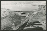 Aerial view of Garrison Dam and Garrison Lake looking north