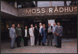 Thomas and Gayle Clifford with group in front of Moss Radhus, Moss, Norway